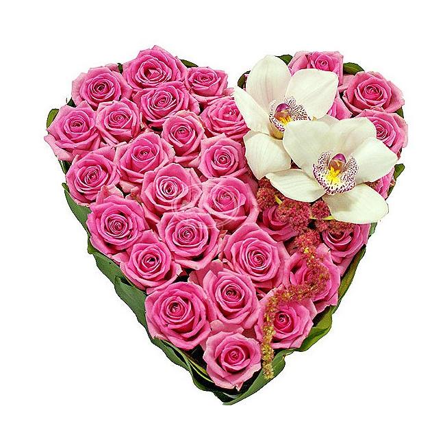Картинки букетов цветов в виде сердца
